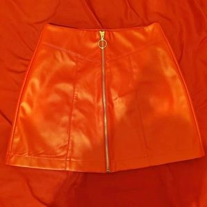 Faux Leather Orange Forever 21 Small Skirt